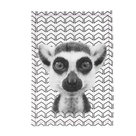 pt, Theedoek Lemur zwart wit katoen, 50x70cm