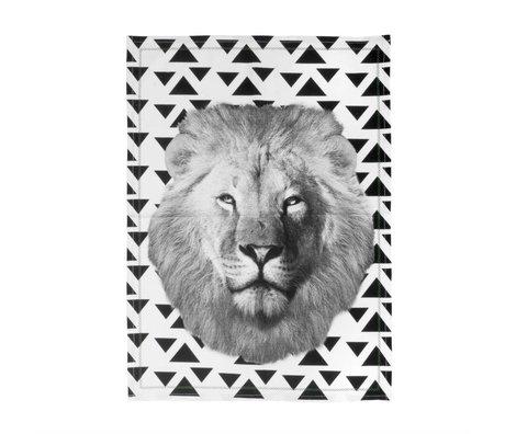 pt, Teacloth Lion black white cotton 50x70cm