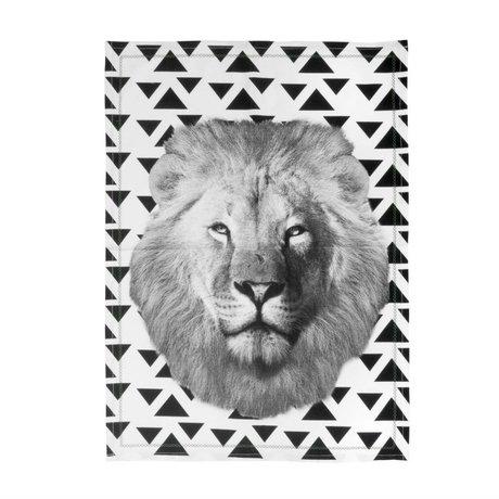 pt, Theedoek Lion zwart wit katoen 50x70cm