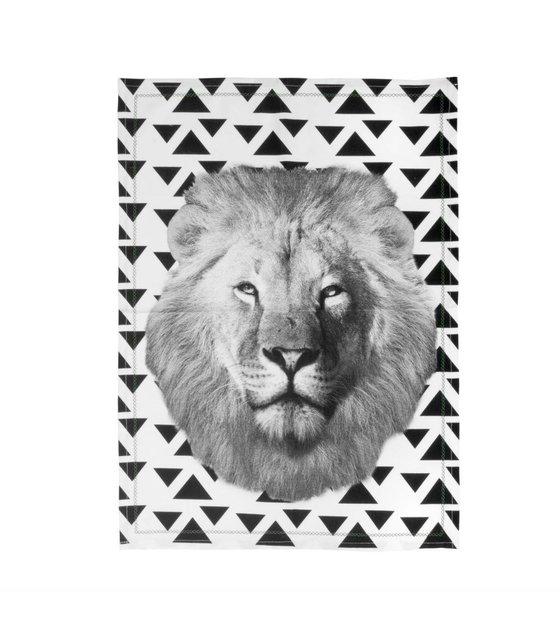 Pt Teacloth Lion Black White Cotton 50x70cm Wonen Met Lef