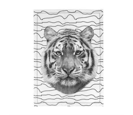 pt, Tiger schwarz und weiß Geschirrtuch aus Baumwolle 50x70cm