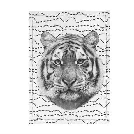 pt, Theedoek Tiger zwart wit katoen 50x70cm