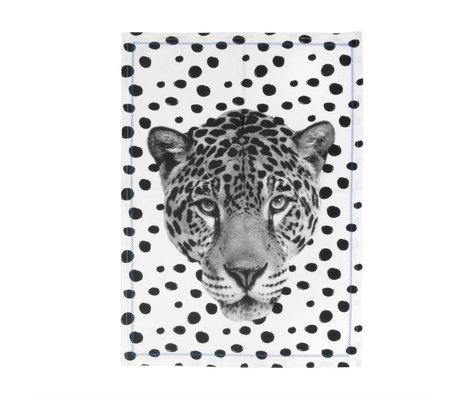 pt, Leopard coton noir torchon et blanc 50x70cm