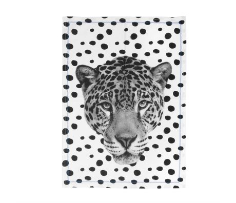 pt, Teacloth Leopard black and white cotton 50x70cm
