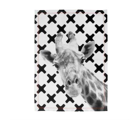 pt, Theedoek Giraffe zwart wit katoen 50x70cm