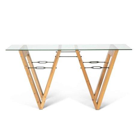 O'BEAU Sidetable Bix transparant glas hout 170x40x85cm