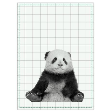 pt, Tea bag panda black white cotton 50x70cm