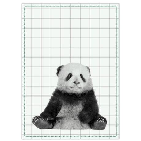 pt, Torchon panda coton noir et blanc 50x70cm