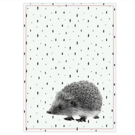 pt, Tea towel hedgehog black white cotton 50x70cm