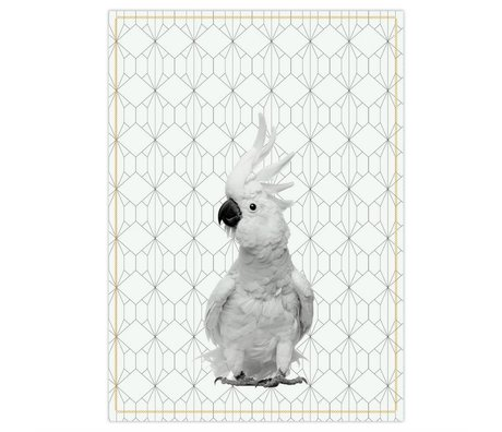pt, coton blanc noir 50x70cm cacatoès linge à vaisselle