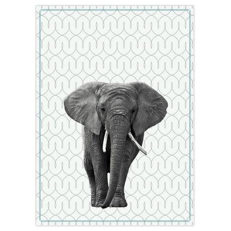 pt, Torchon éléphant en coton blanc noir 50x70cm