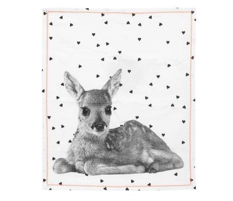 pt, Tea towel deer white cotton 50x70cm