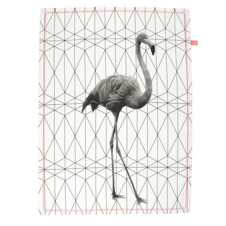 pt, Tea towel flamingo black and white cotton 50x70cm