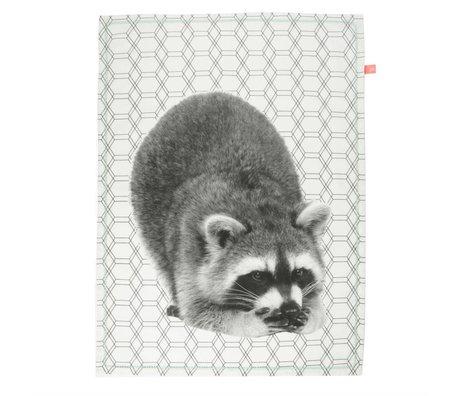 pt, Tea towel raccoon white cotton 50x70cm
