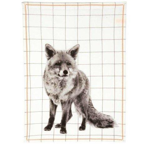 pt, Tea towel fox white cotton 50x70cm