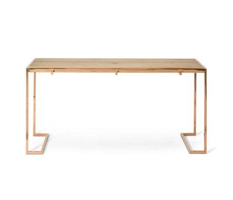 O'BEAU Sidetable Luna copper metal wood 160x40x77cm
