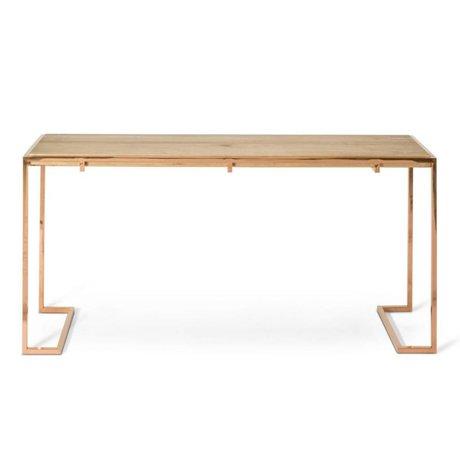 O'BEAU Table d'appoint Luna bois de métal de cuivre 160x40x77cm