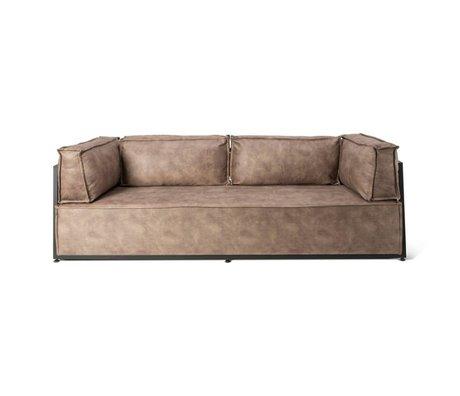 O'BEAU Sofa Scottie brown suede leather metal 240x87x68cm