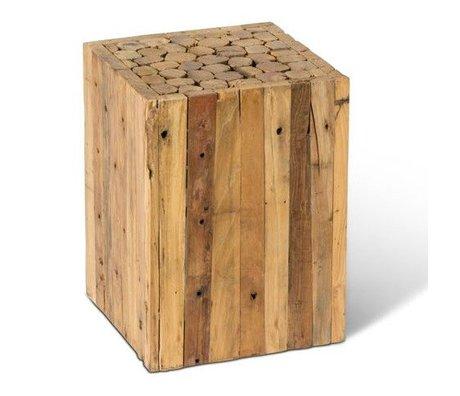 O'BEAU Side table Vive brown wood 30x30x40cm