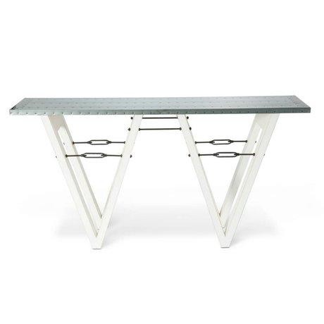O'BEAU Side Table Bix métal blanc bois 170x40x85cm