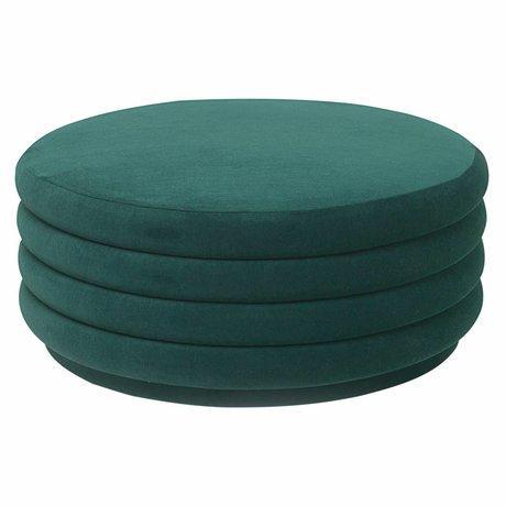 Ferm Living Poef groen velvet Ø90x40cm