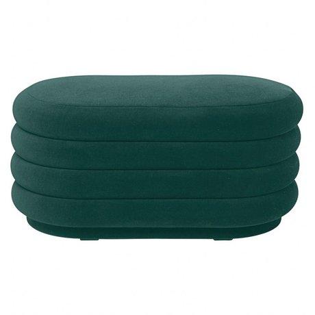 Ferm Living Poef groen velvet 90x40x42cm