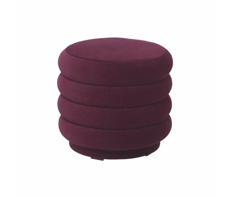 Ferm Living Poef bordeaux rood velvet Ø42x40cm