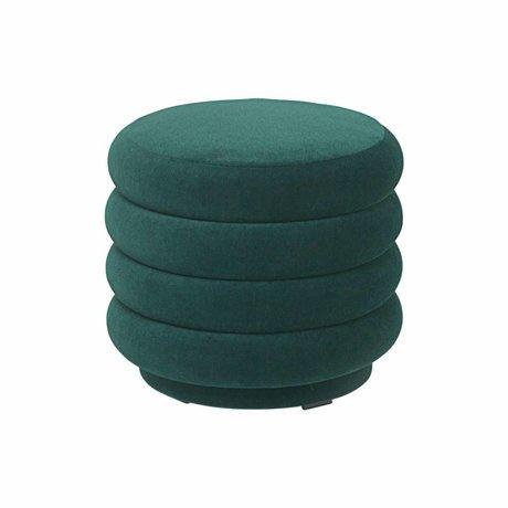 Ferm Living Poef groen velvet Ø42x40cm
