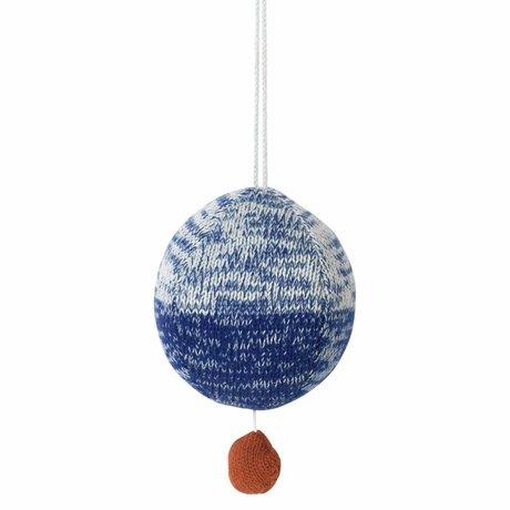 Ferm Living Mobile met muziek gebreid katoen bal blauw Ø10cm