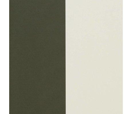 Ferm Living Cremige weiße grüne Tapete Linien 53x1000cm