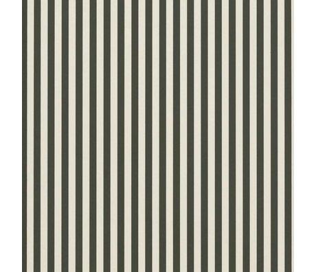 Ferm Living Les lignes minces papier peint vert crème 53x1000cm blanc