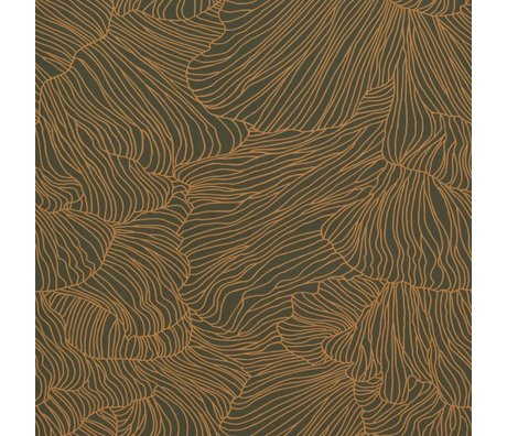 Ferm Living Coral Tapete dunkelgrünes gold 53x1000cm