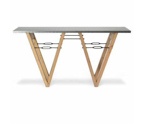 O'BEAU Side Table Bix métal bois brun 170x40x85cm