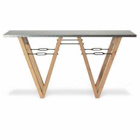 O'BEAU Beistelltisch Bix braunes Holz Metall 170x40x85cm