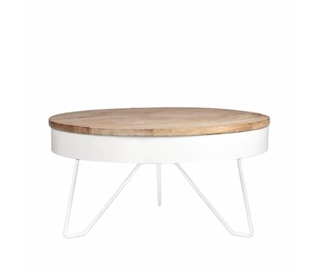 LEF collections Coffee table Saran white metal wood 80x80x43cm