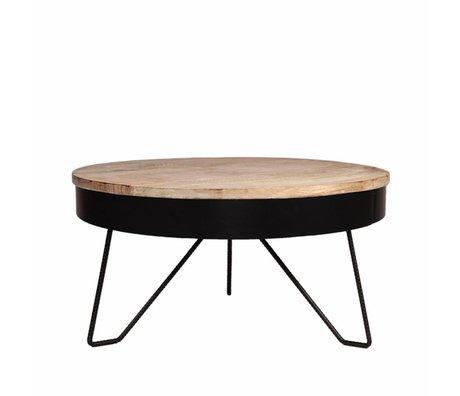 LEF collections Salontafel Saran zwart metaal hout 80x80x43cm