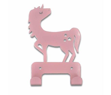 Eina Design Wandhaak Eenhoorn licht roze metaal 17x11cm