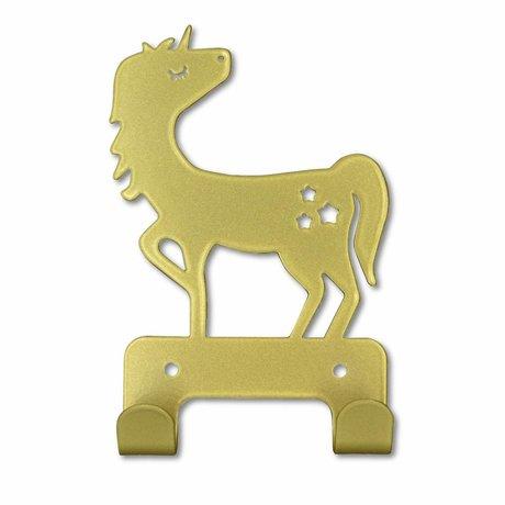 Eina Design Wandhaken Einhorn Gold Metall 17x11cm