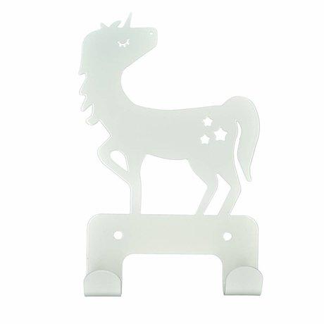 Eina Design Wandhaak Eenhoorn wit metaal 17x11cm