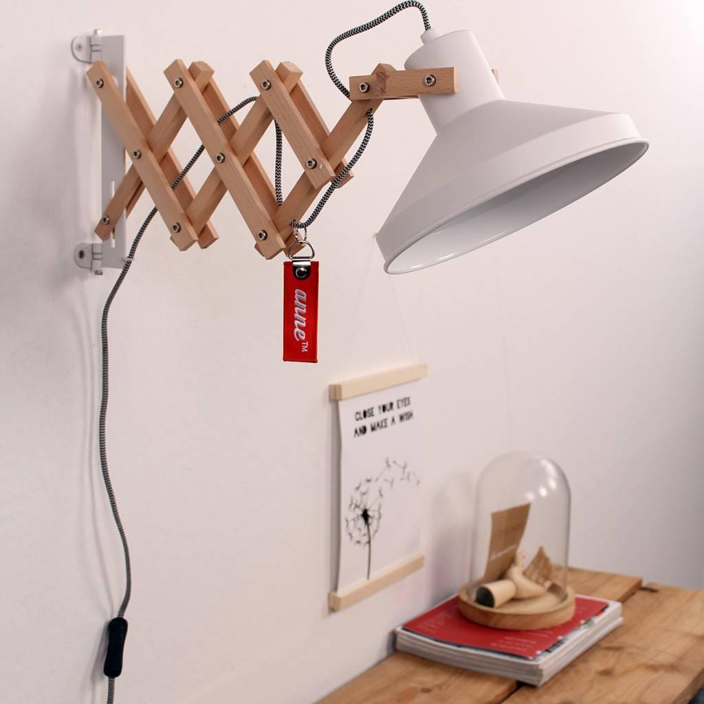 Rope Lights Woodies: Anne Lighting Wandlamp Woody Scissors Wit Metaal Hout