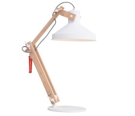 Anne Lighting Lampe de table métallique de bois métal blanc Woody ø23x68cm