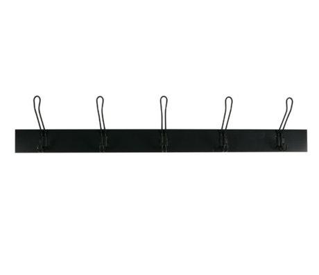 vtwonen Coat rack Hang on black wood L 21,5x120x12cm