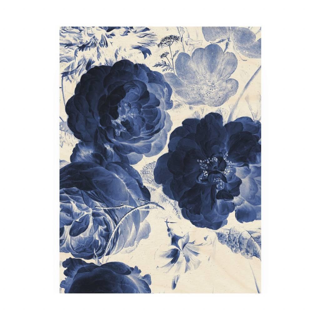 Kek Amsterdam Wooden Panel Royal Blue Flowers 2 M 60x80cm Wonen