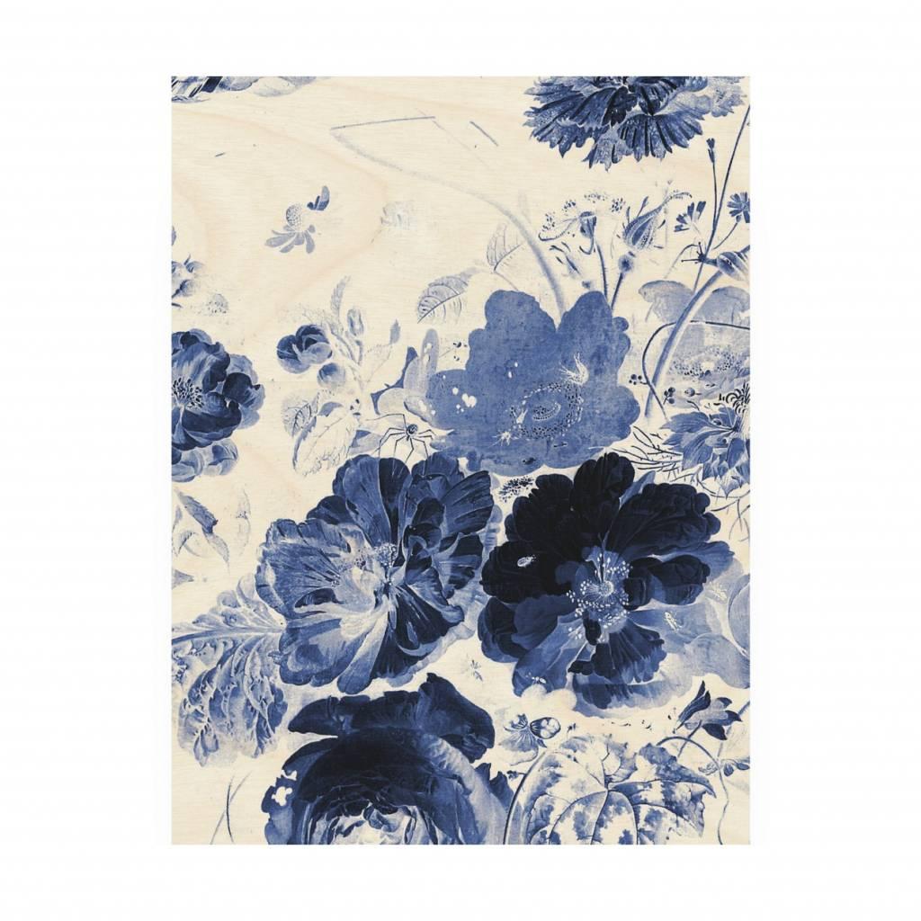 Kek Amsterdam Wooden Panel Royal Blue Flowers 3 M 60x80cm Wonen