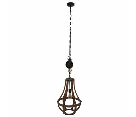 Anne Lighting Hanging lamp Liberty Bell brown black wood metal 40x58cm