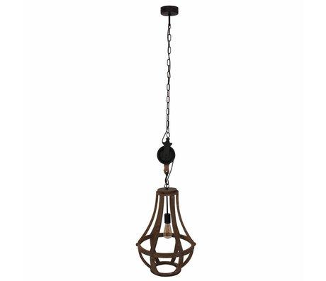 Anne Lighting Liberty Bell Pendelleuchte braun Holz schwarz Metall 40x58cm