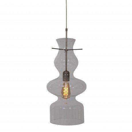 Anne Lighting Suspension Chalise jour et nuit 21x165cm métal en verre transparent