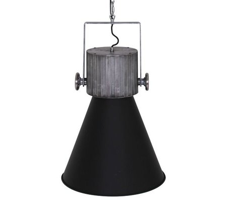 Anne Lighting Suspension à capuchon 40x155cm métallique noir