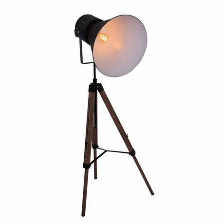 Anne Lighting Floor lamp Hoody Tripod black metal wood 60x170cm