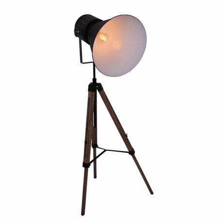 Anne Lighting Lampadaire trépied Hoody bois métal noir 60x170cm